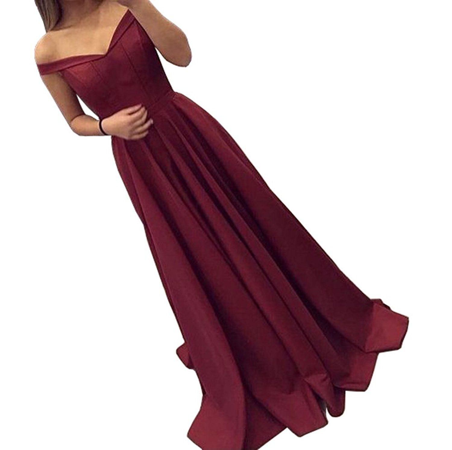 Amazon dressylady burgundy offshoulder a line long prom