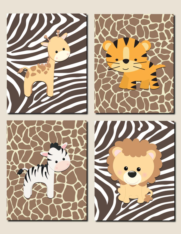 Jungle Theme Decor Jungle Animals Wall Art Nursery Art Children S