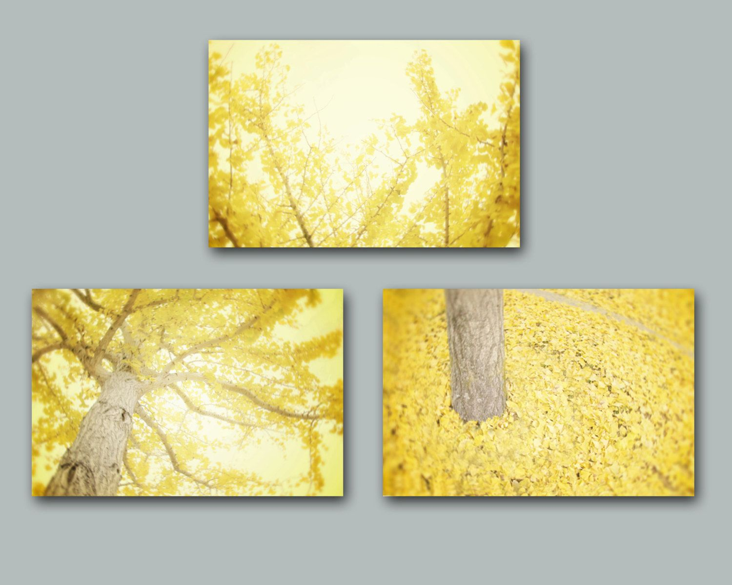 Yellow Wall Art Set of Three Yellow Tree by AmyTylerPhotography ...