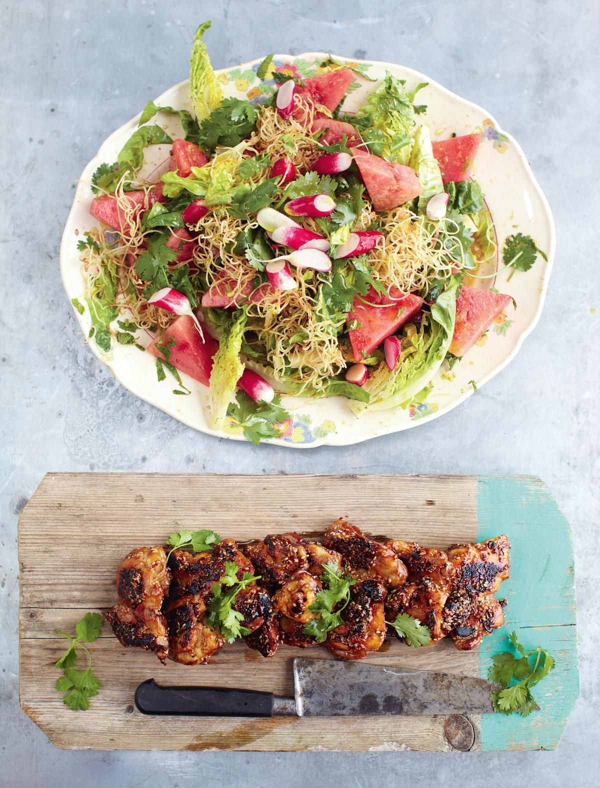 Sticky Kicking Chicken Watermelon Radish Salad And Crunchy Noodles