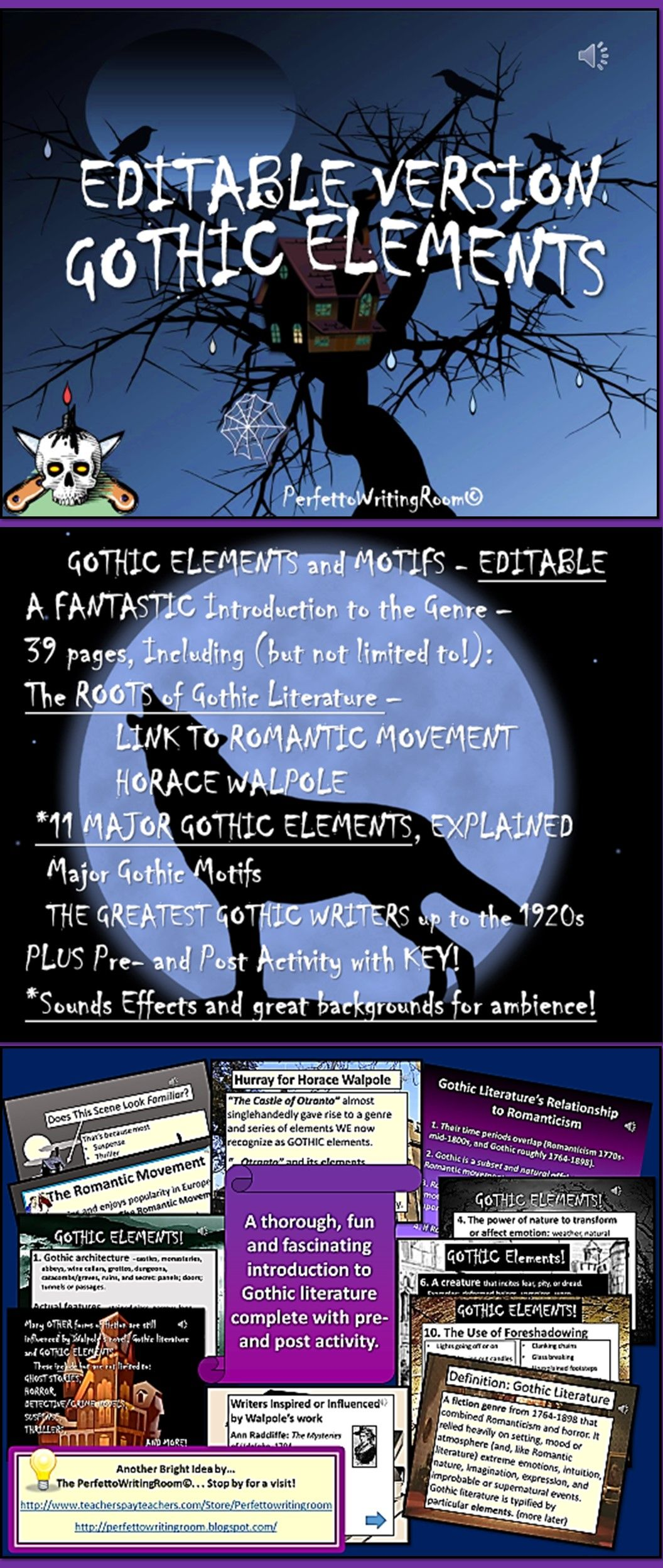Gothic Literature Elements And Motifs Editable Version