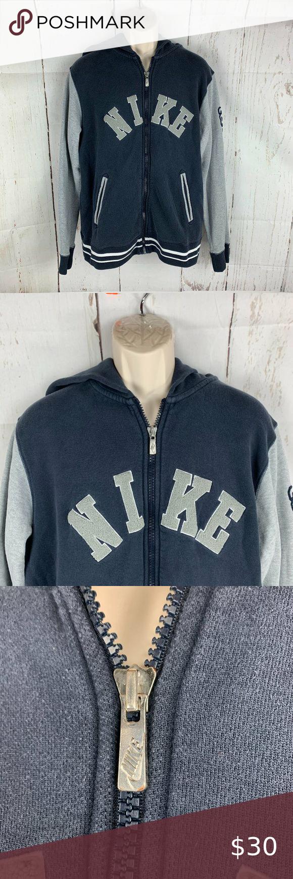 Vintage Nike Spellout Full Zip Hoodie Sweatshirt Vintage Nike Men S Size Xl Navy Blue Gray Spellout Full Zip Hoodie Sweatshirt Sweatshirts Hoodie Vintage Nike [ 1740 x 580 Pixel ]