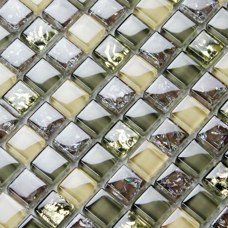 Pretty Color! Glass tiles ice crack crystal mosaic deco mesh ...