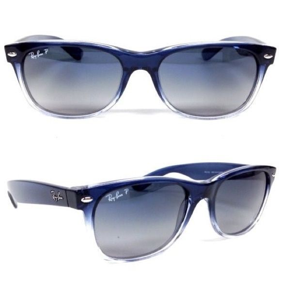 2dde3c5df8 Ray Ban Wayfarer - Blue Ray Ban New Wayfarer RB2132 822 78 In Blue Gradient  on Transparent Crystal Polarized Blue Grey Ray-Ban Accessories Glasses