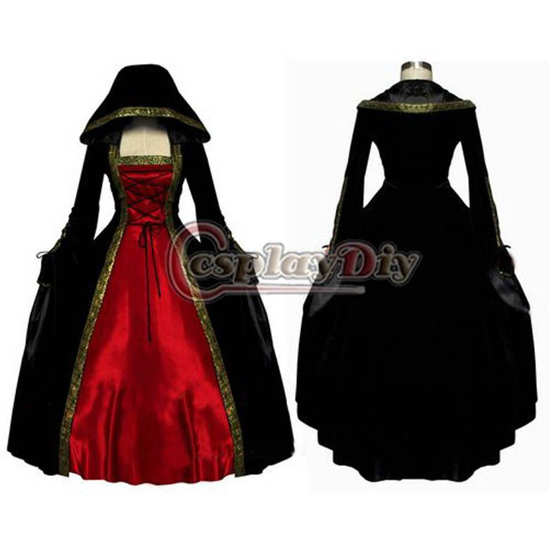 Find More Clothing Information About ROCOCO Ball Gown Gothic Medieval Victorian Black And Red Long Sleeve Dress Custom Made D1124High Quality SChina