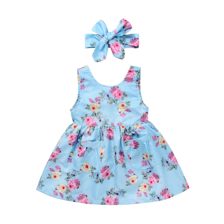 0 4t Baby Girls Kids Dresses Summer Bow Knot Party Sleeveless Cute Mini Dress Flowers Cotton Dresses Kids Girl Baby Girl Summer Dresses Toddler Dress [ 1500 x 1500 Pixel ]
