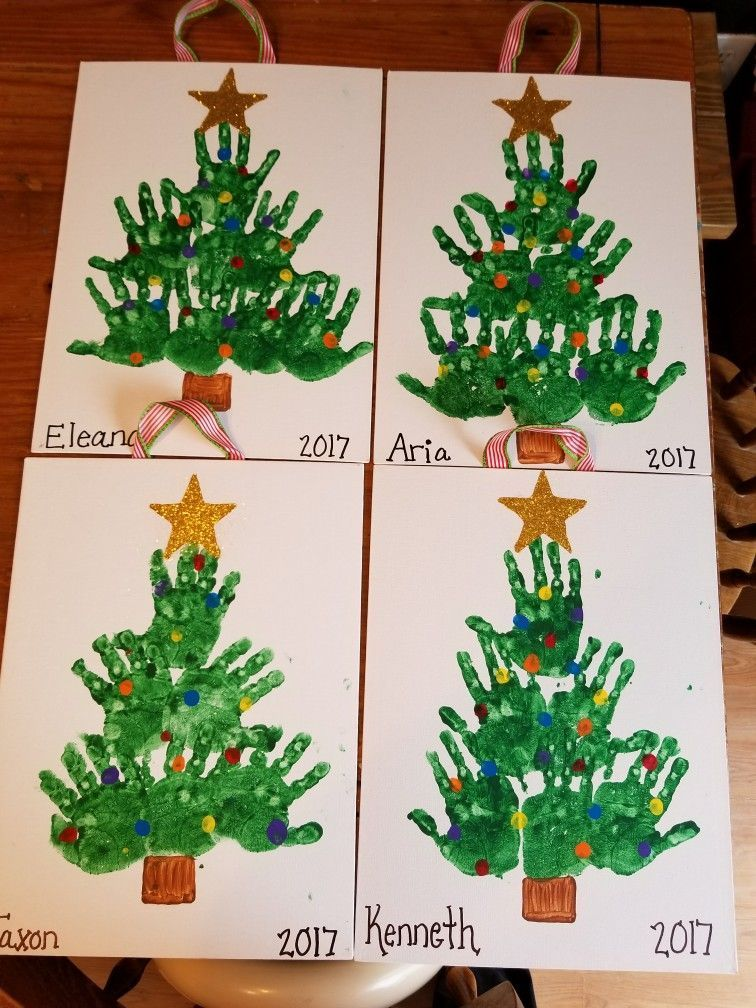 Kids Handprint Christmas Trees Christmascraftsforkidstomaketoddlers Kids Handprint Chr Preschool Christmas Crafts Handprint Christmas Tree Preschool Christmas