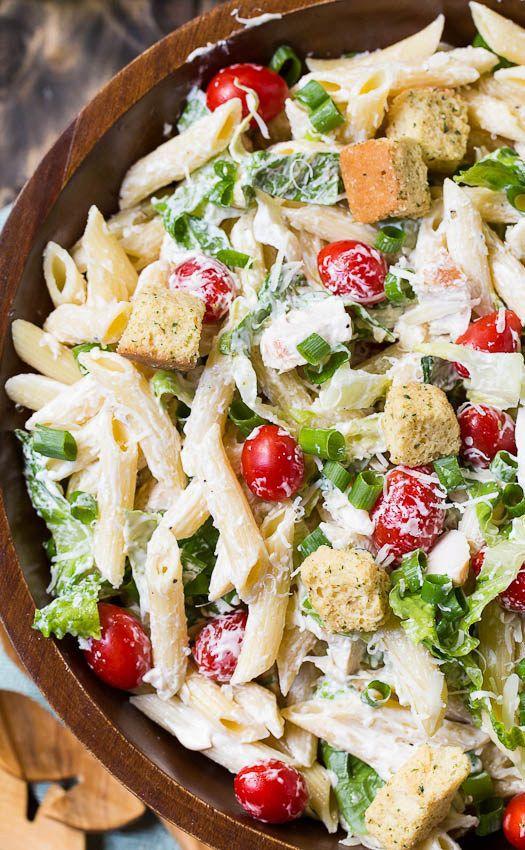Caesar Pasta Salad   Ideas de comidas, Comida deliciosa y Picnics