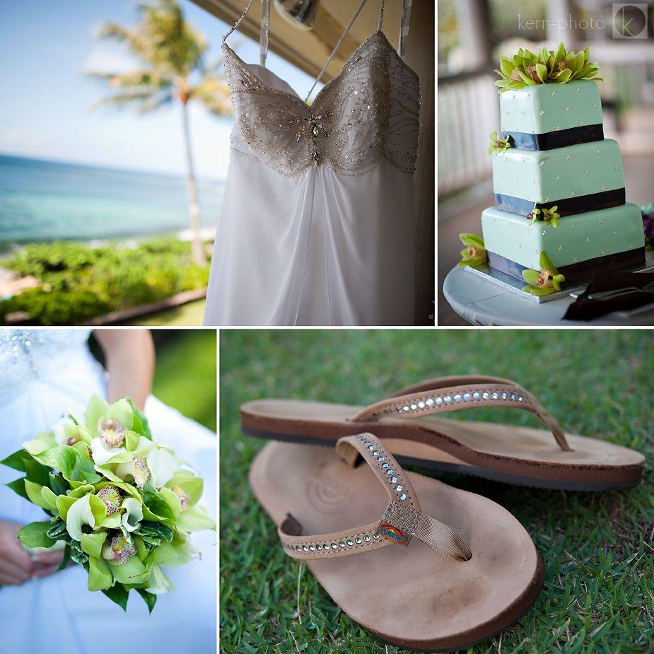 Waikiki Beach Wedding Ceremony: Photo: Dress - Bouquet - Cake - Sandles