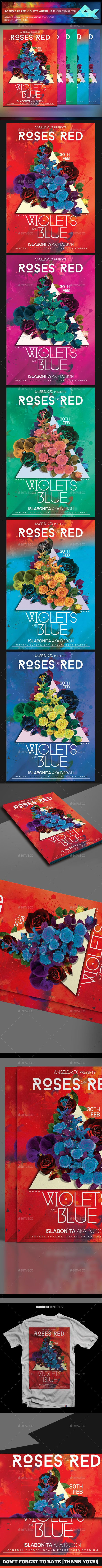 Roses Are Red Violets Are Blue Flyer Template  Colorful Designs