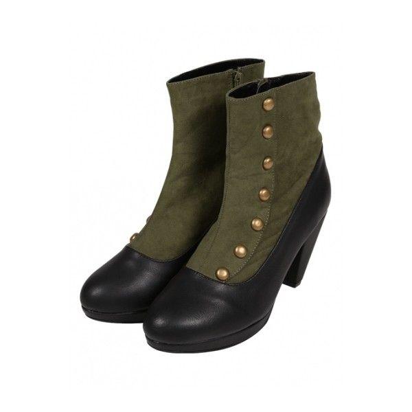 サイド釦使いショートブーツ/an another angelus ❤ liked on Polyvore featuring shoes and boots