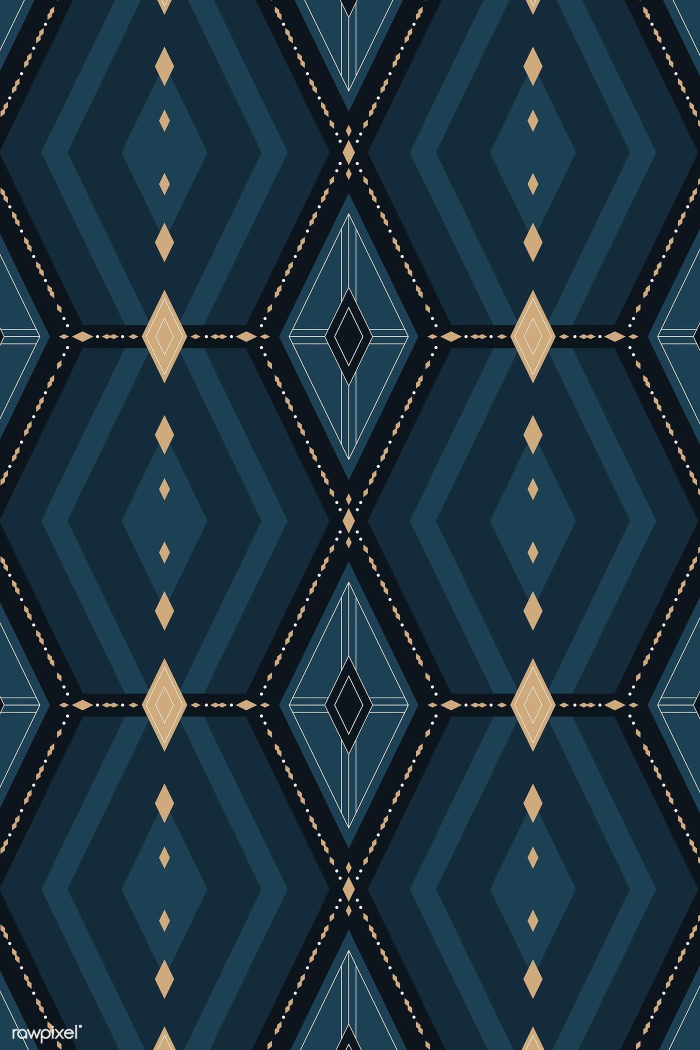 Download premium vector of Seamless navy blue geometric