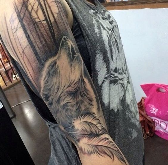Tattoo Wolf Full Moon Eagle Feathers Forest Shading Black And White My Dream Tattoo Wolf Tattoo Sleeve Wolf Tattoos Sleeve Tattoos