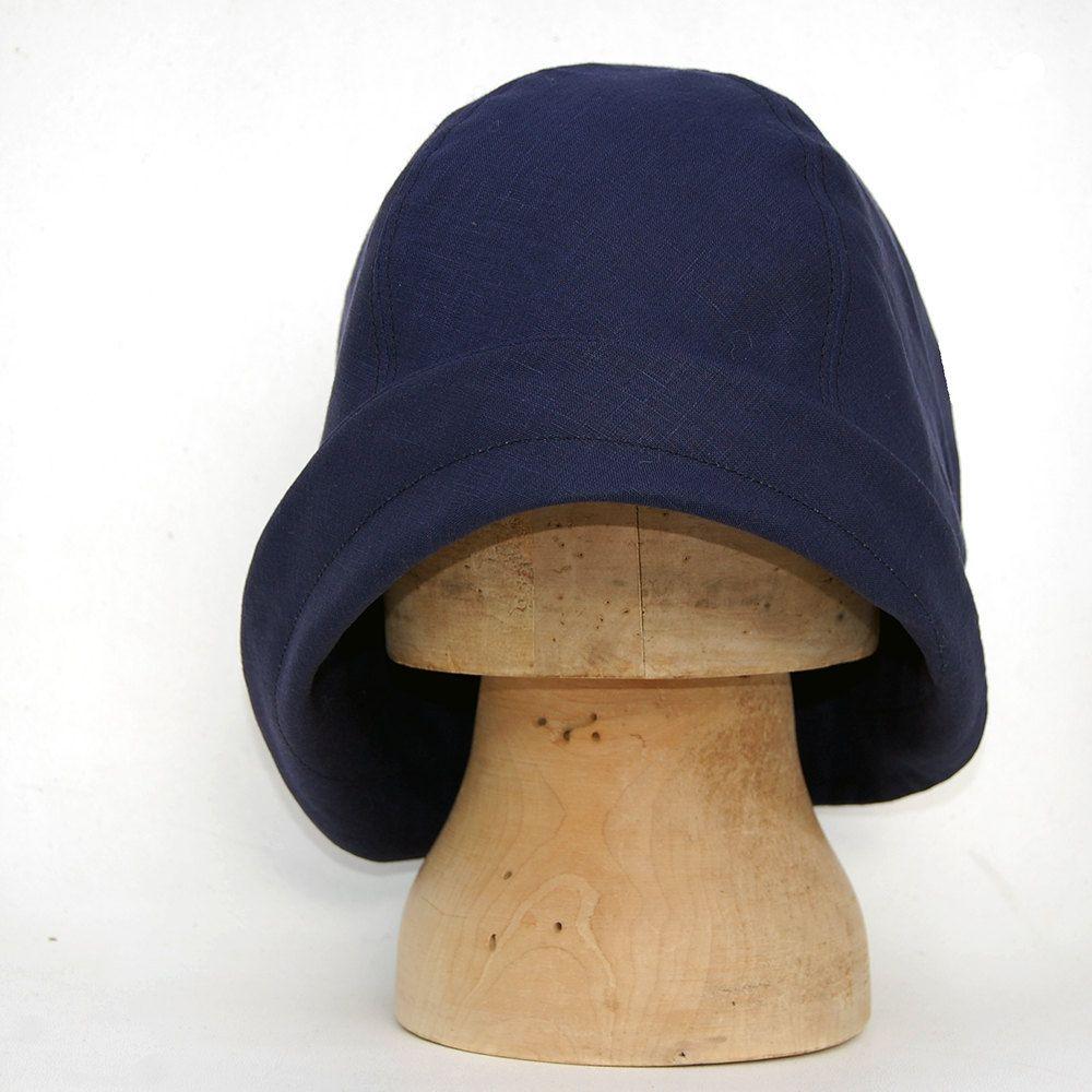 b55b84a2a46 20s inspired navy linen cloche hat
