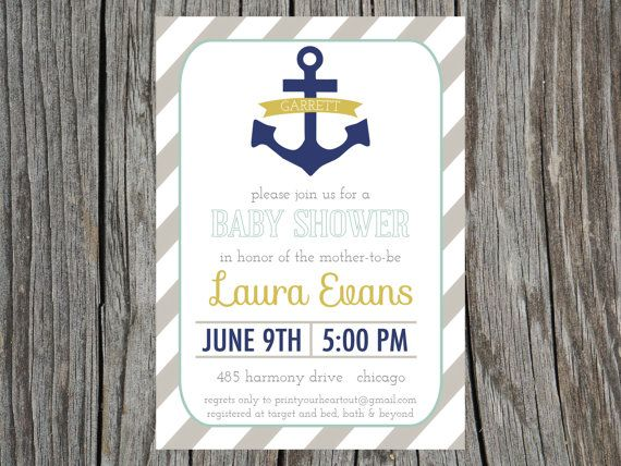 Nautical Baby Shower Invitation Anchor Printable. $12.50, Via Etsy.
