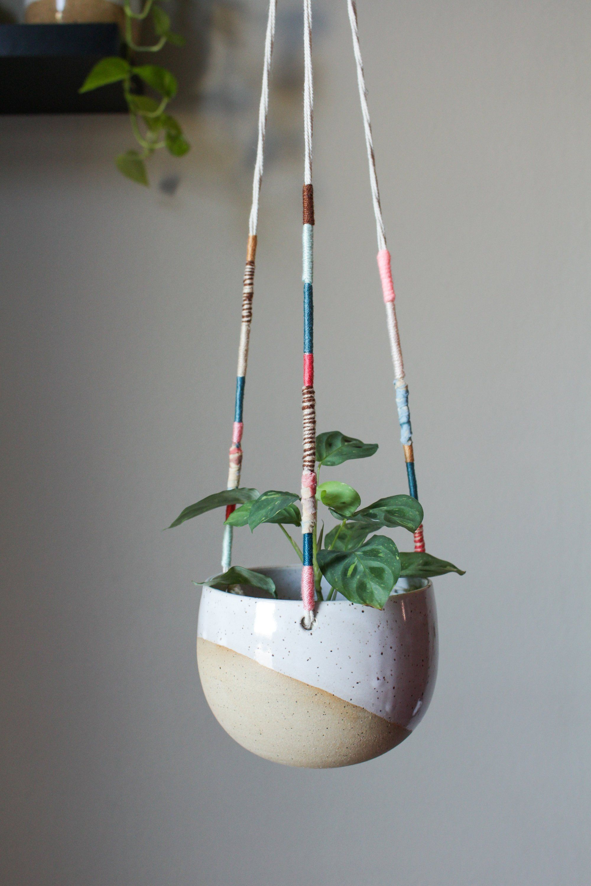 Handmade Ceramic Planter Hanging Speckled White Flower Pot