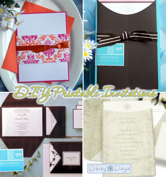 diy wedding invatations Pink DIY Invitation Kit Chocolate Brown