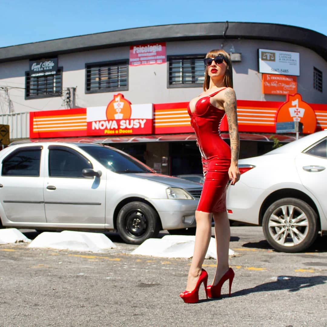Image May Contain 3 People People Standing Shoes Car And Outdoor Lady In Red Red Dress Fashion