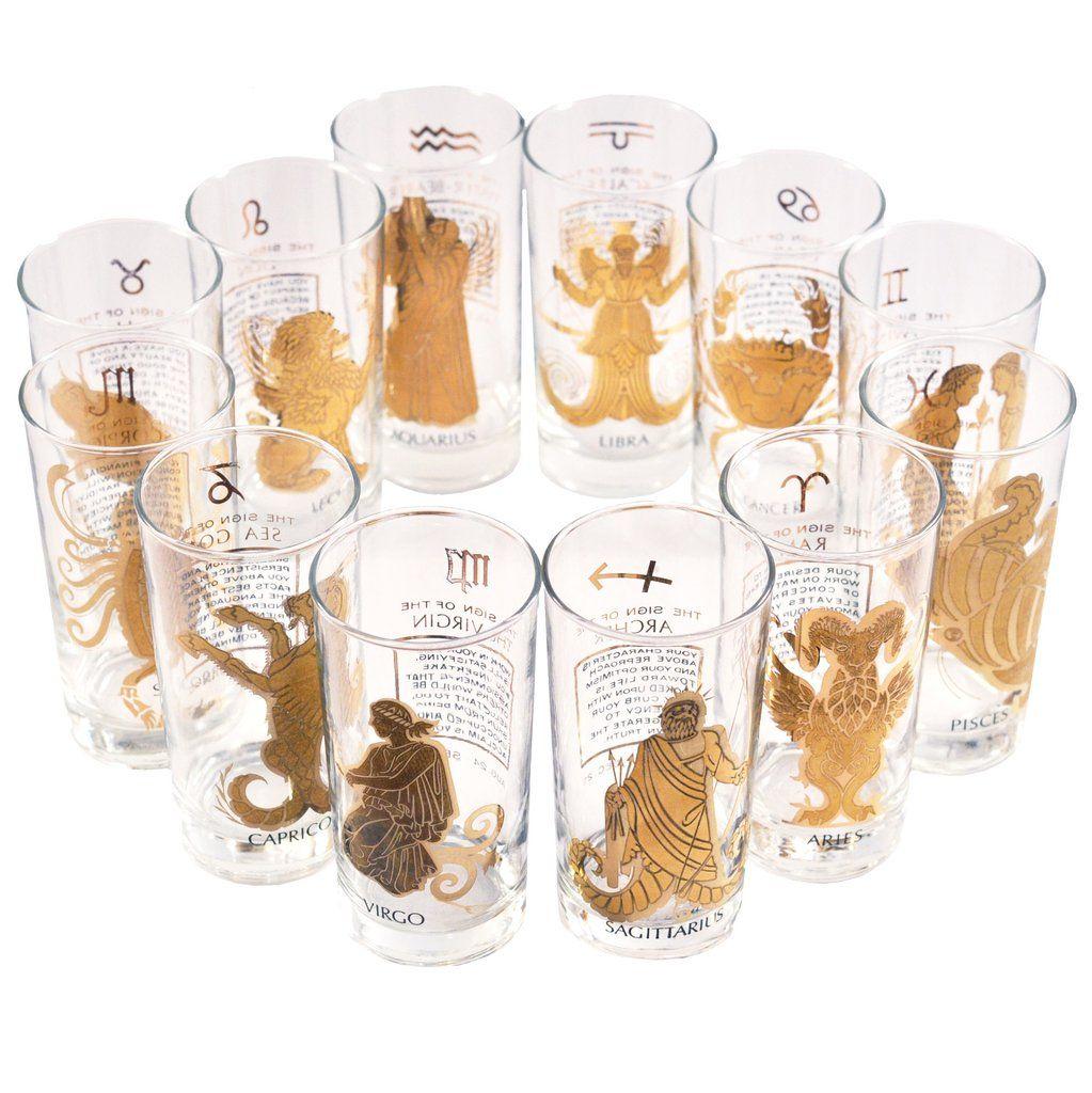 Gold Zodiac Signs Collins Glasses Vintage Cocktail Glasses Vintage Glassware Cocktail Glassware