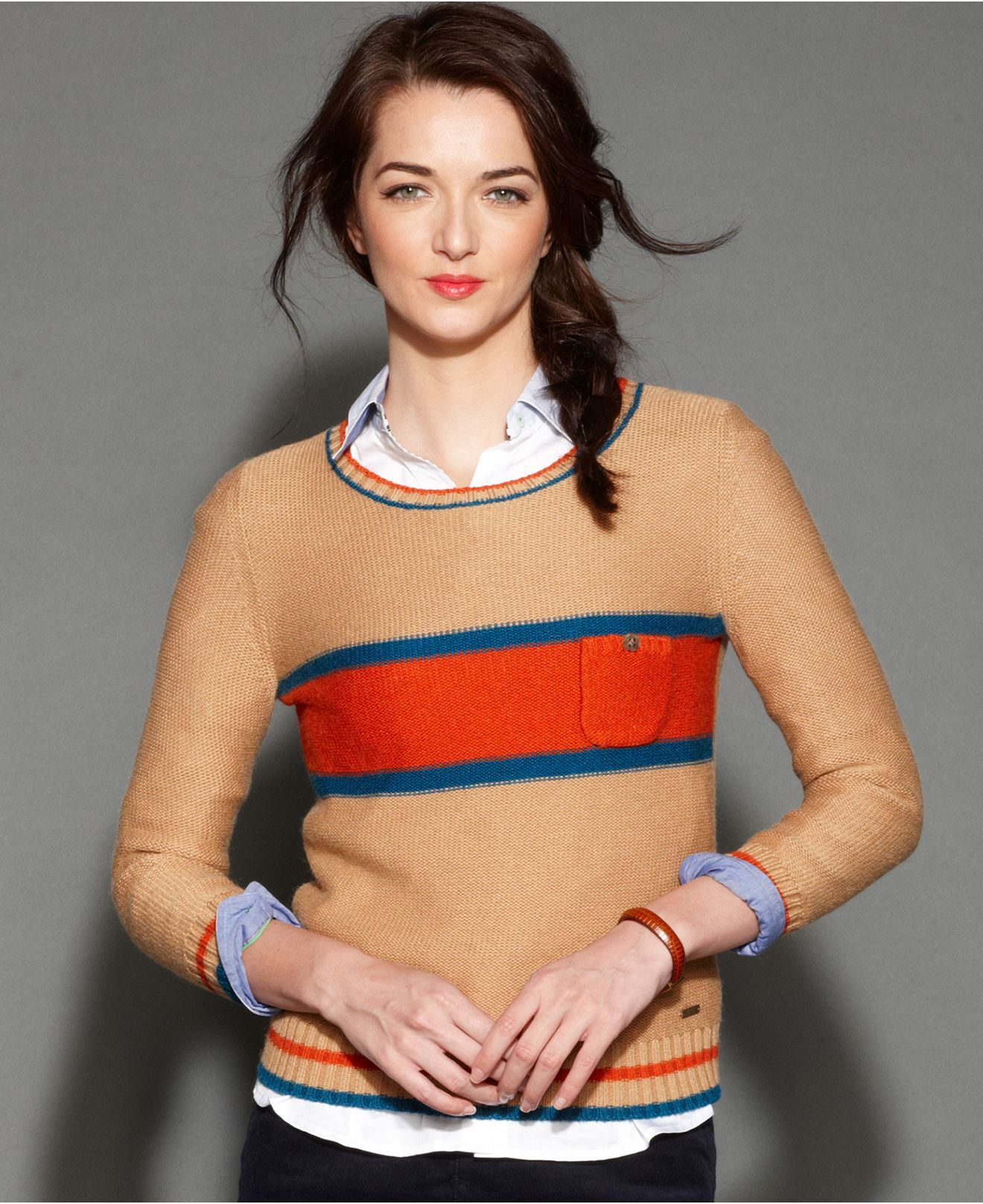 Tommy Hilfiger Sweater, Long-Sleeve Striped Wool-Blend - Sweaters ...