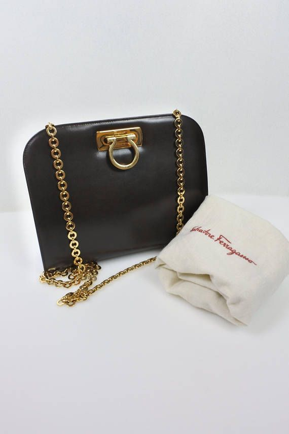 a283a955b SALVATORE FERRAGAMO Vintage brown leather shoulder / crossbody bag ...