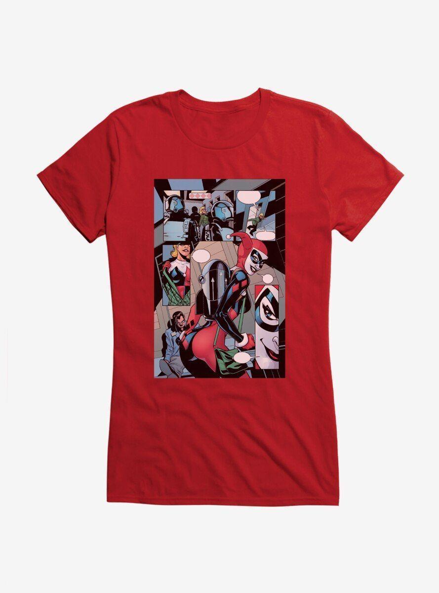 DC Comics Batman Harley Quinn Tricked You Comic Strip Girls T シ ャ ツ Strips girl シ ャ ツ