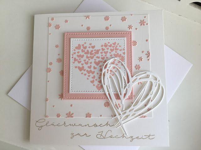 Willkommen auf meinem Blog!  Schön dass ihr hier vorbei schaut!   Die letzte Hochzeitskarte aus meiner Serie habe ich ganz zart in Puderrosa...