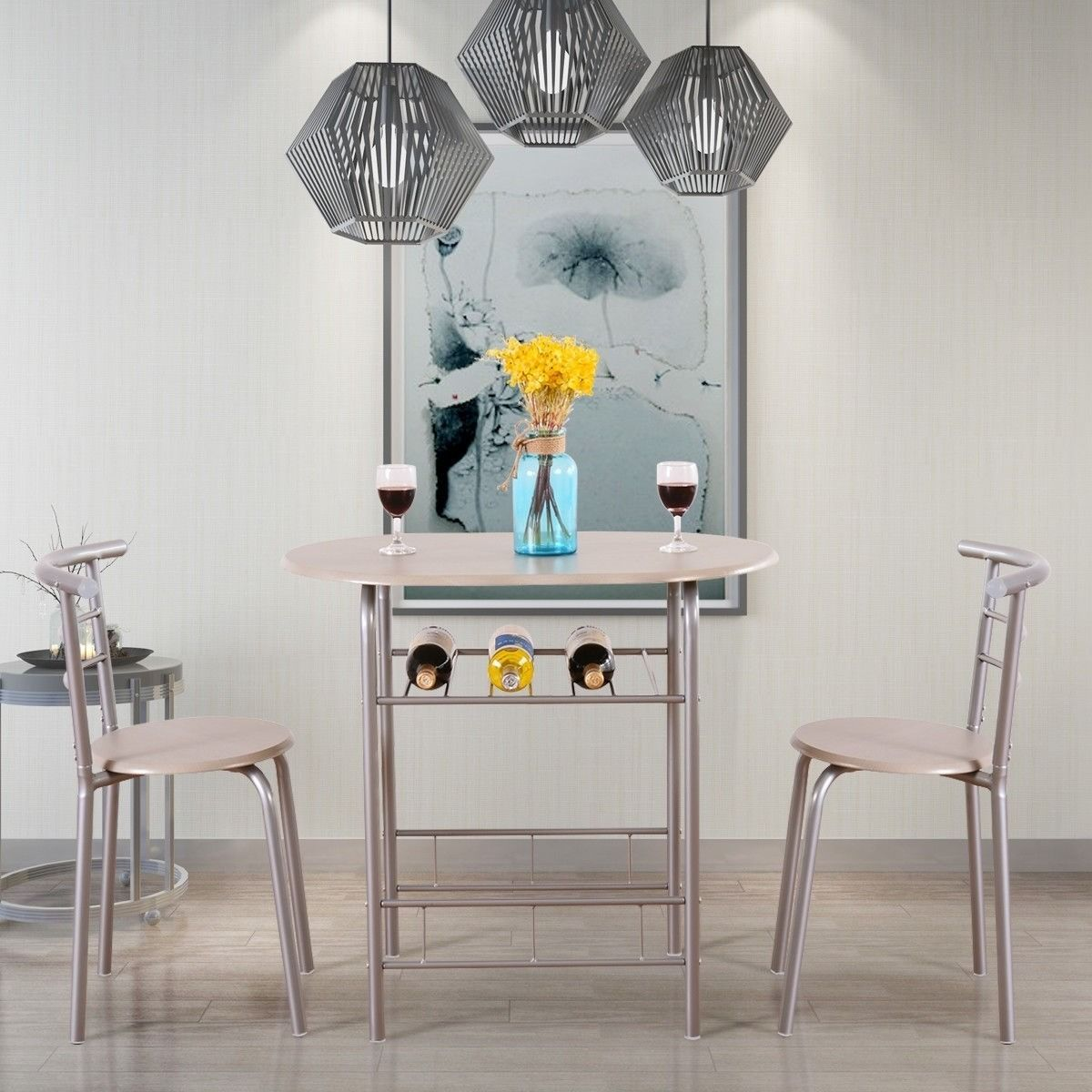 Greenforest 3 Piece Dining Table And Chairs Set Modern Breakfast