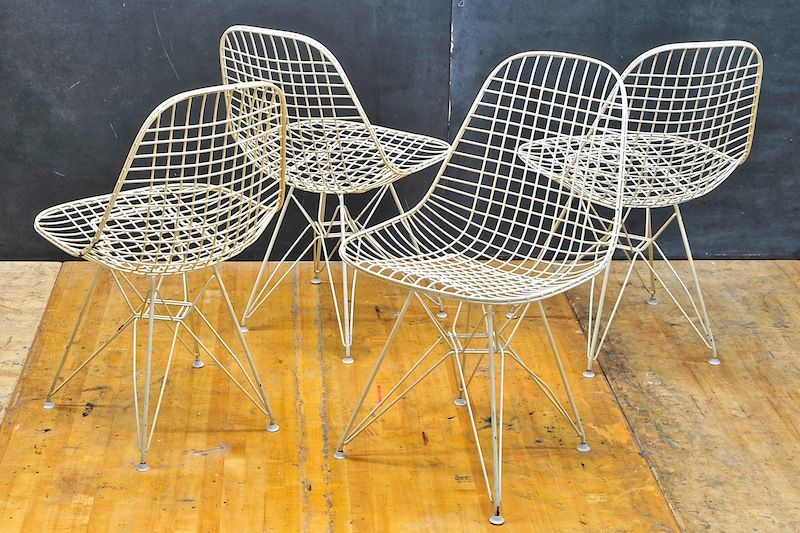 Eames Nylon White DKR Wire Chairs : 20th Century Vintage Industrial : Modern Fifty