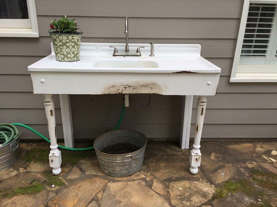 Great Outdoor Sink From A Vintage Porcelain Sink Hook Up