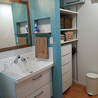 バス トイレ ヒオリエ 洗面所 収納 タオル などのインテリア実例
