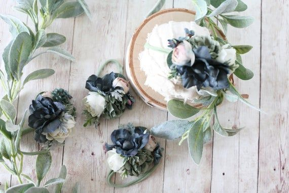 Mellow Mood navy blue dusty blue sagel navy flower crown headband newborn tieback #crownheadband