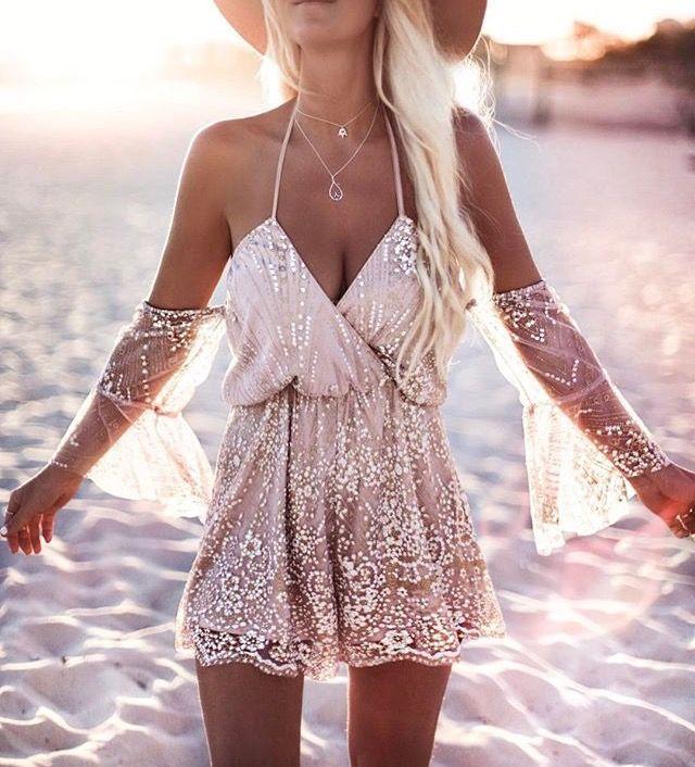 98bd930bd943 Shop Boho Style Halter Lace Patchwork Wrap Bardot Romper – Discover sexy  women fashion at IVRose