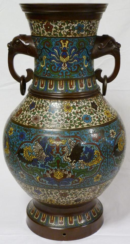 Antique Chinese Champleve Vase Has A Beautiful Design Depicting