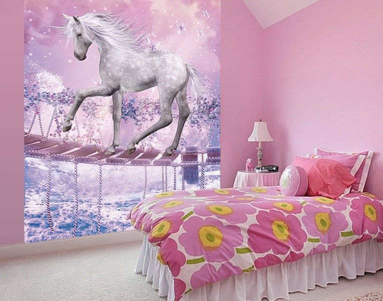 einhorn im zauberwald fototapte girl einhorn. Black Bedroom Furniture Sets. Home Design Ideas