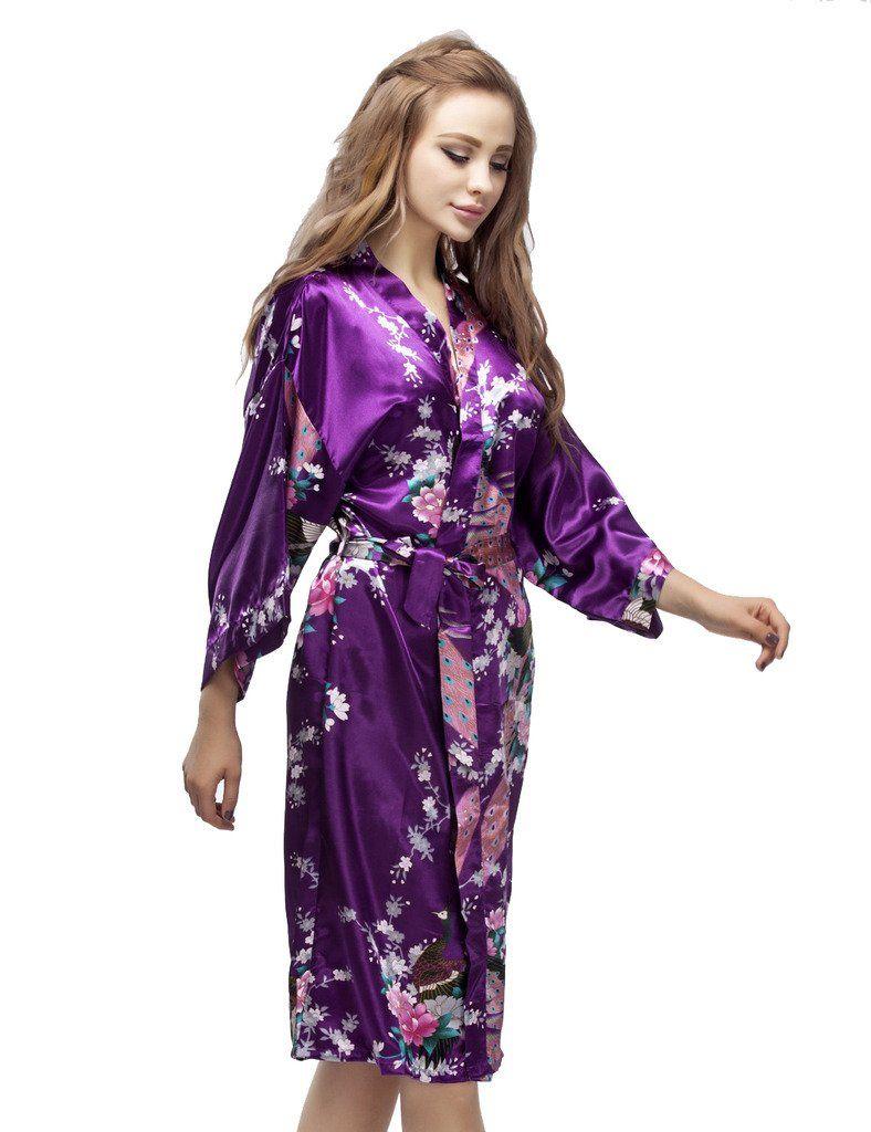 Purple Satin Peacock Kimono Robe, Wedding Kimono Nightgown, Short Style Bridesmaid Robes, Bachelorette Party Robes