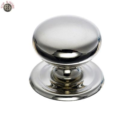 "Top Knobs - M1316 - Victoria Knob 1 1/4"" w/Backplate - Polished Nickel - Asbury Collection"