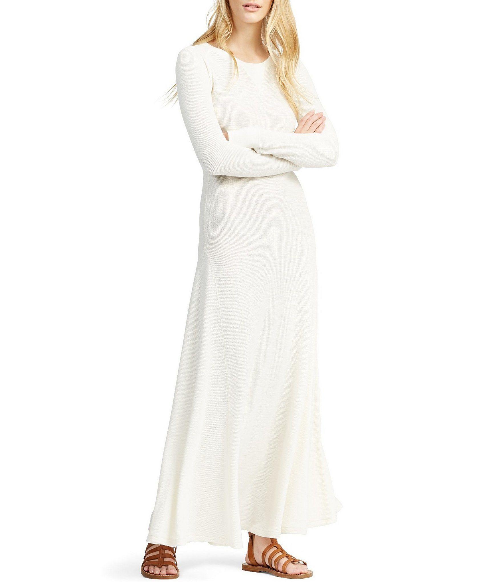 Polo Ralph Lauren Cotton Crew Neck Long Sleeve Maxi Dress Dillard S Maxi Dress Cotton Dresses With Leggings Cotton Maxi [ 2040 x 1760 Pixel ]
