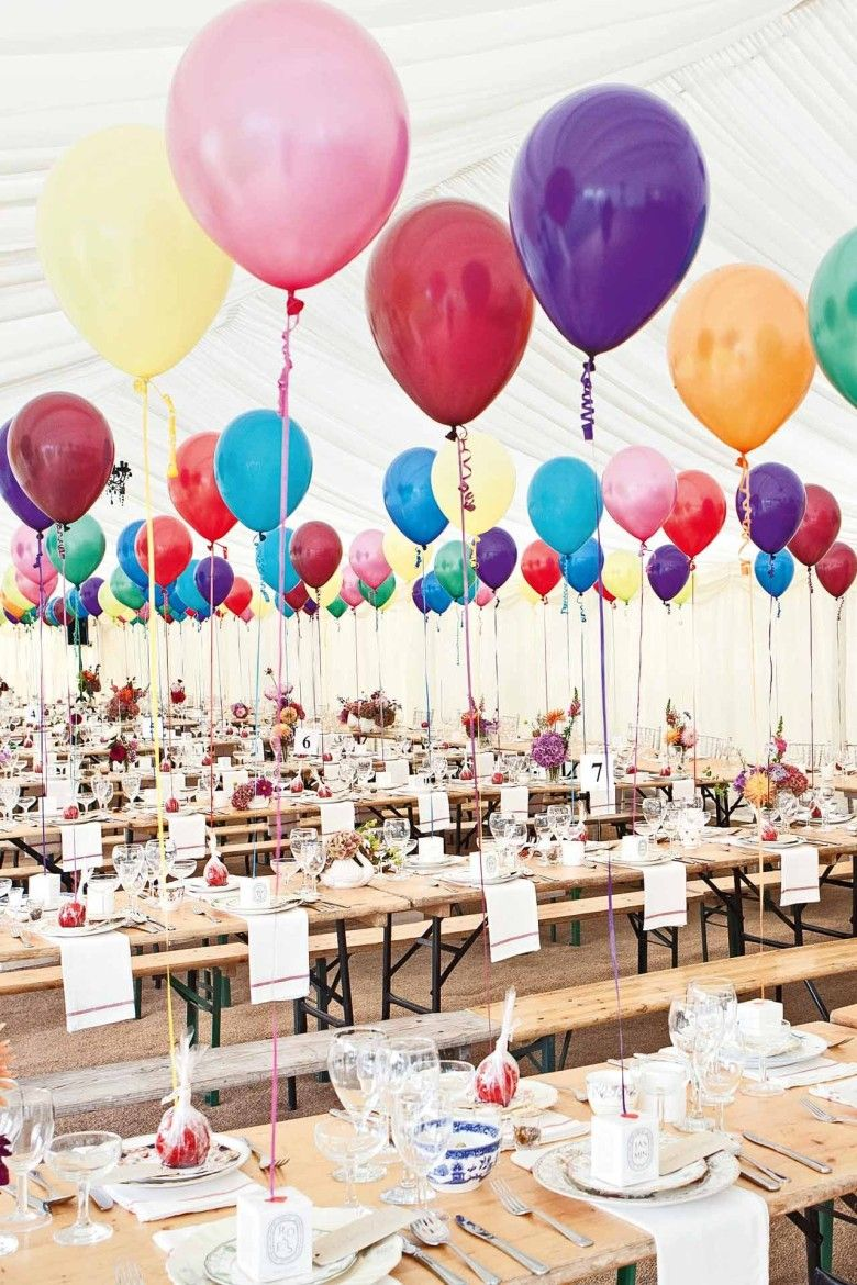 One gigantic balloon at each table anchor inside  dollar store vase with metallic tissue extra balloons around stage would add focal point also cheap cute wedding decoration ideas st birthday party rh in pinterest