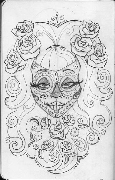 printable day of the dead skulls coloring pages | leigh young ... - Sugar Skull Coloring Pages Print