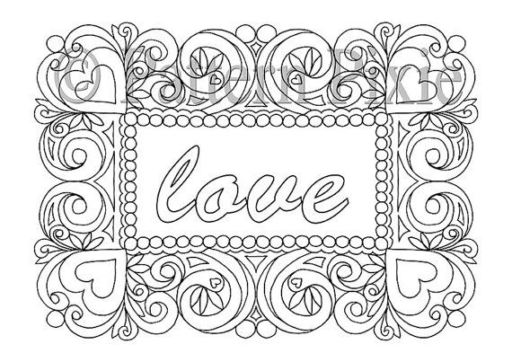 Adult Colouring Page Heart Frame With Text Coloring Pages
