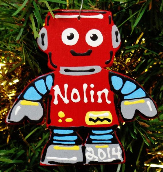 U Choose Name & Date Personalized ROBOT by 3CraftyMillers on Etsy