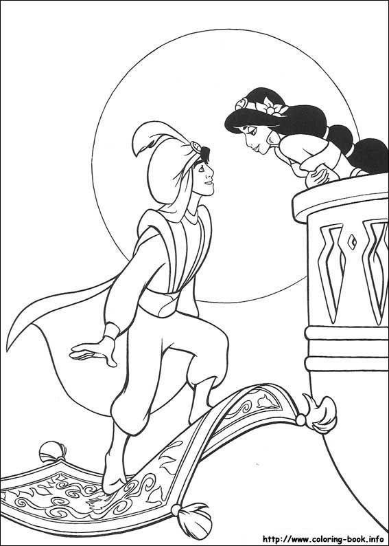 ディズニーぬりえシート - 3934 | Tattoos | Pinterest | Aladdin ...