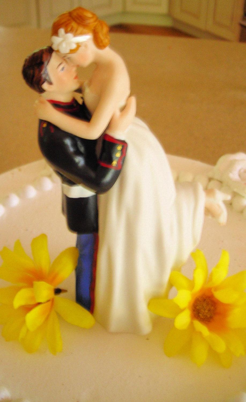USMC Marine Corps Wedding Cake Topper HUG pose Bride uniform Kiss ...