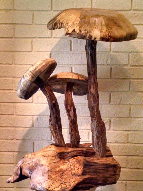 Hand Carved Mushroom Sculpture Stuffed Mushrooms Wood Wall Sculpture Hand Carved Wood