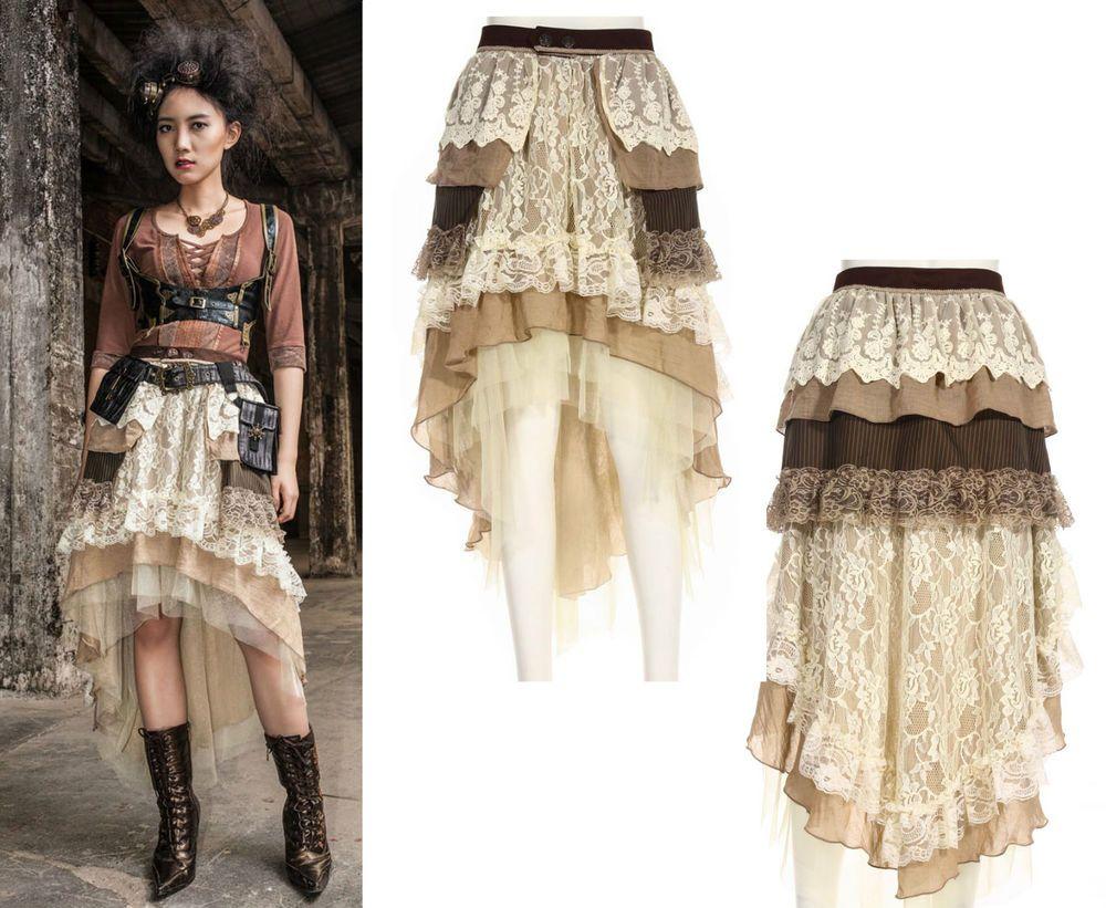 02475d4f6b7c RQ-BL Steampunk Rock 2-tlg SET Gothic Gürtel Vintage Skirt Spitze ...