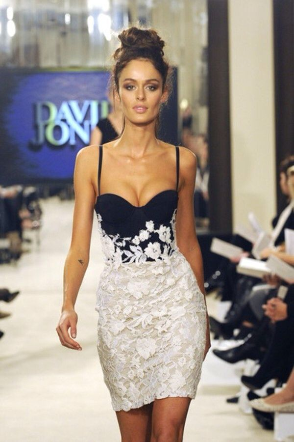 Nicole Trunfio wears designs by Alex Perry for David Jones