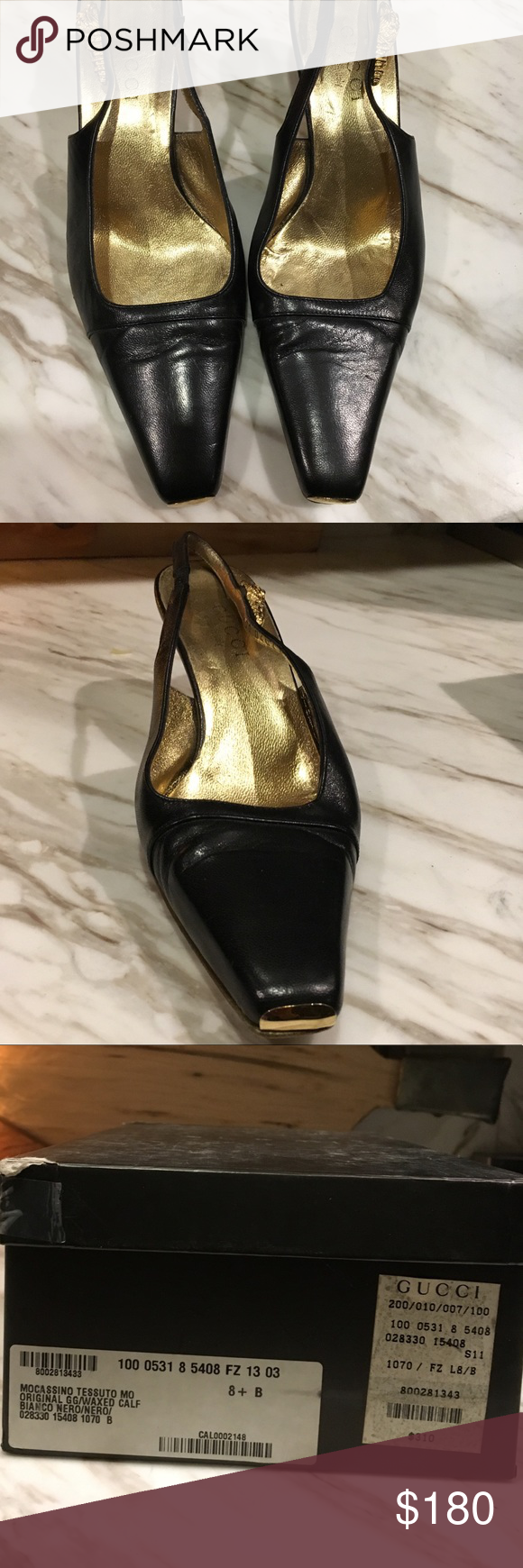 911af421b Gucci Black Leather Square Pointed Mocassino heels -Gucci -Gently Worn,  great condition, WITH box -Black Genuine Leather with 2 inch heel Mocassino  Shoes ...