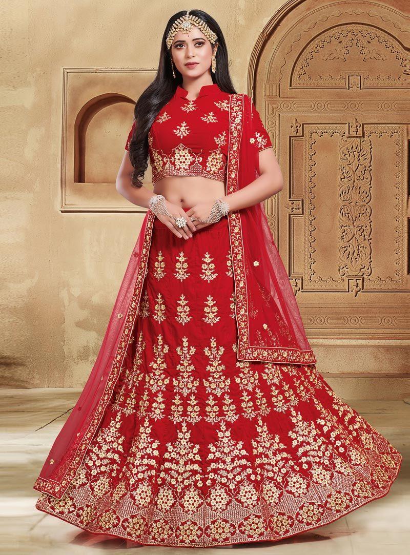 3d086bb53f Buy Red Velvet Circular Lehenga Choli 146832 online at best price from vast  collection of Lehenga Choli and Chaniya Choli at Indianclothstore.com.