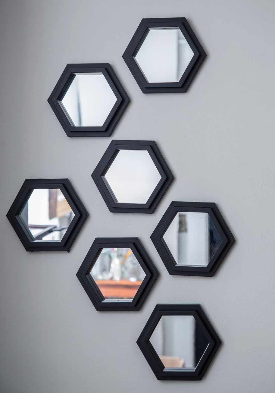 Geometric Makeover Wall Mirror Set Give That Blank A Revamp Simply By Hanging This Collection Of Hexagonal Mirrors In Any Formation You See Fit
